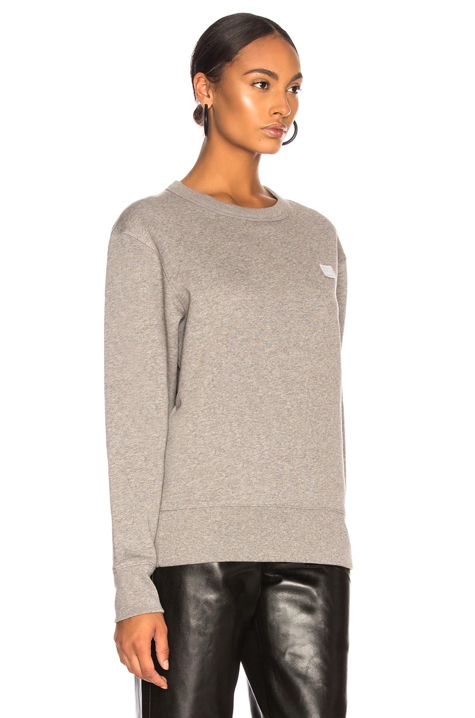 Image 2 of Acne Studios Fairview Face Sweater in Light Grey Melange