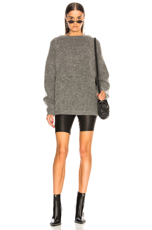 Image 4 of Acne Studios Dramatic Mohair Sweater in Grey Melange