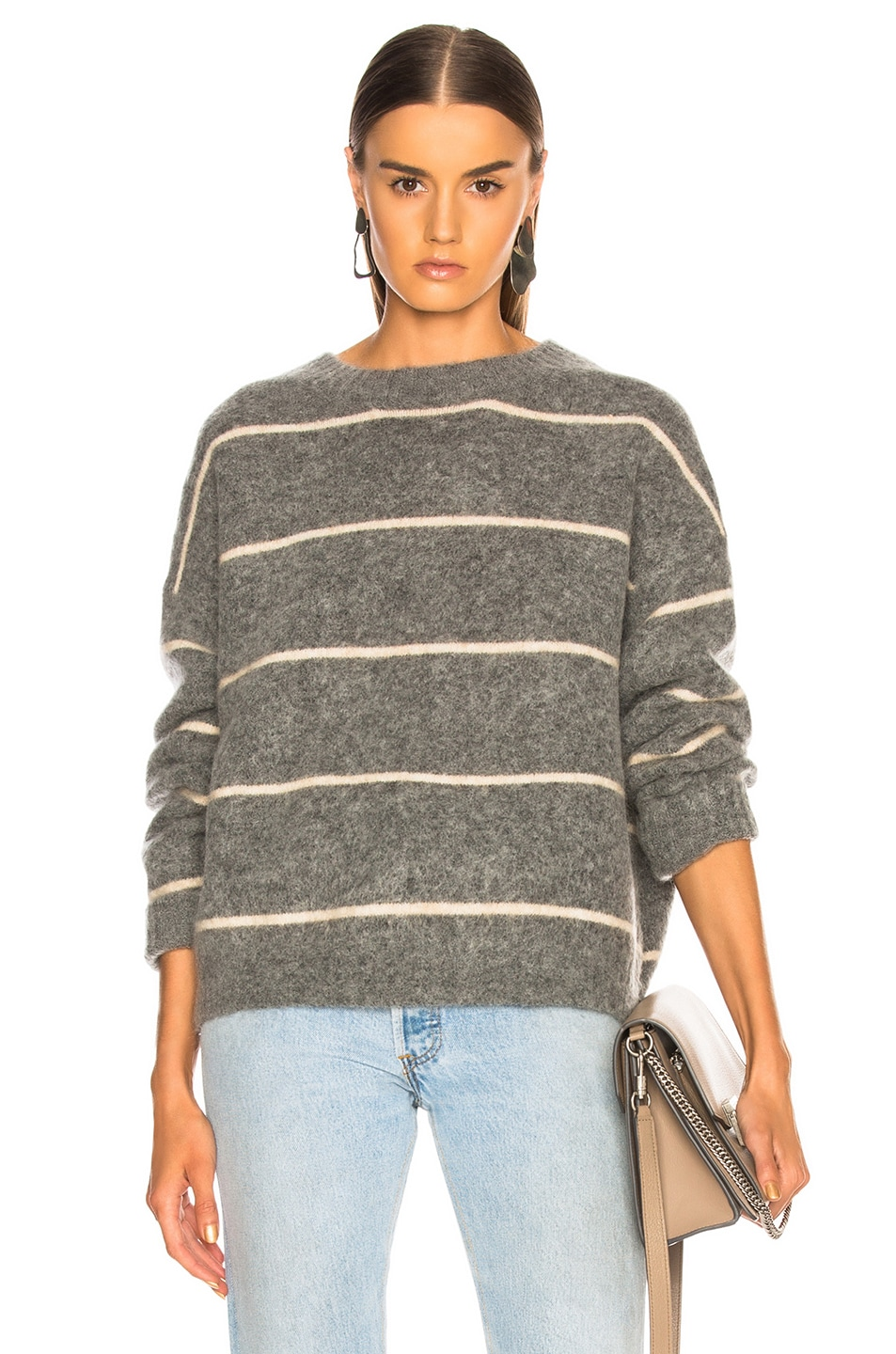 Image 1 of Acne Studios Rhira Mohair Sweater in Grey & Beige