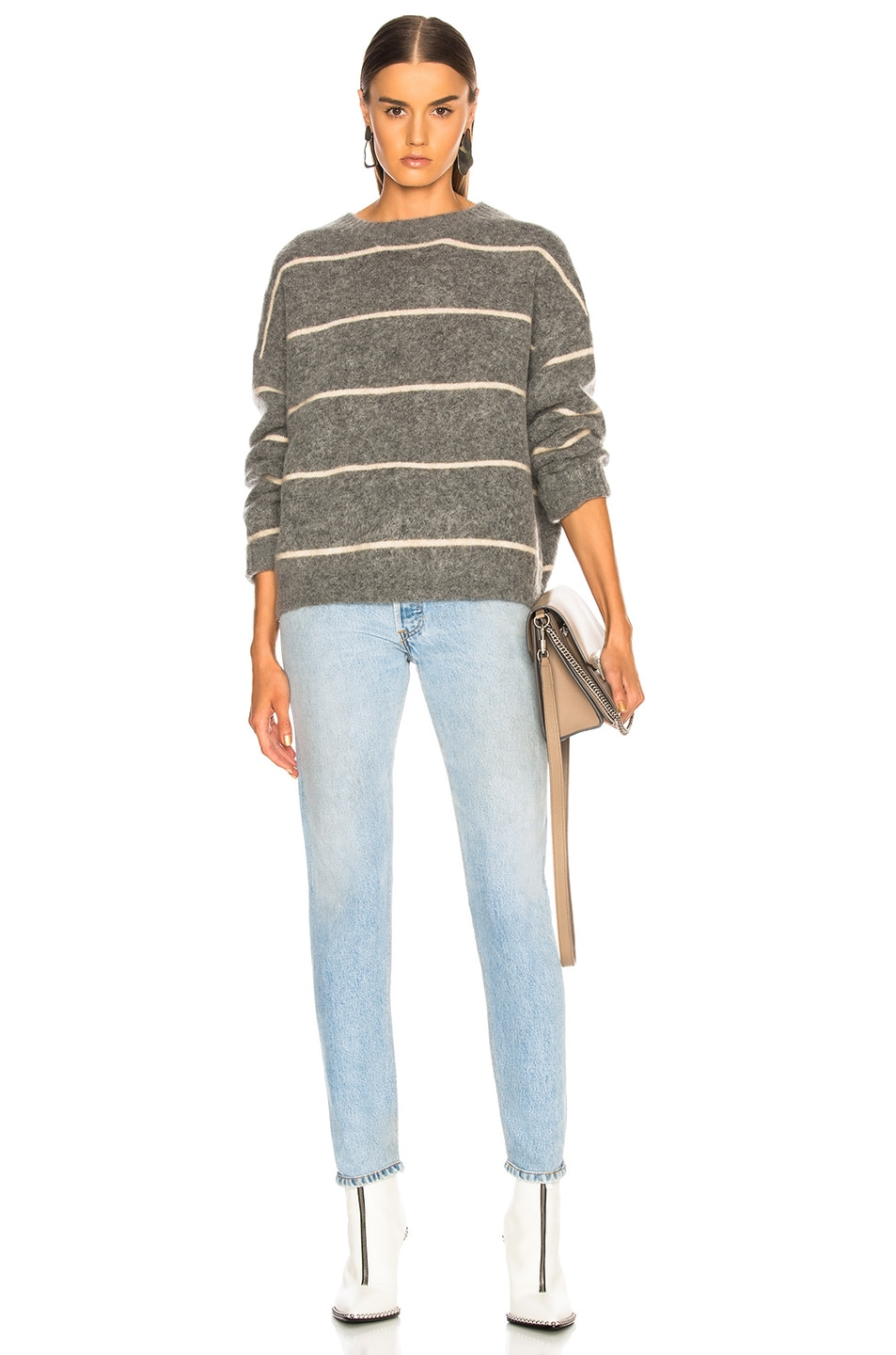 Image 4 of Acne Studios Rhira Mohair Sweater in Grey & Beige