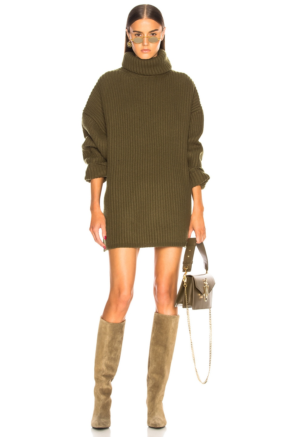 Image 1 of Acne Studios Oversized Turtleneck Sweater in Khaki Green