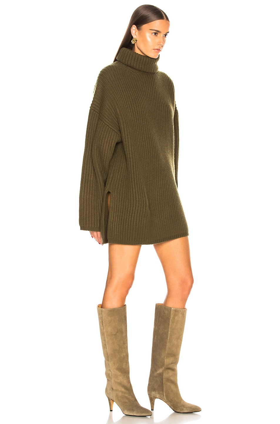 Image 2 of Acne Studios Oversized Turtleneck Sweater in Khaki Green