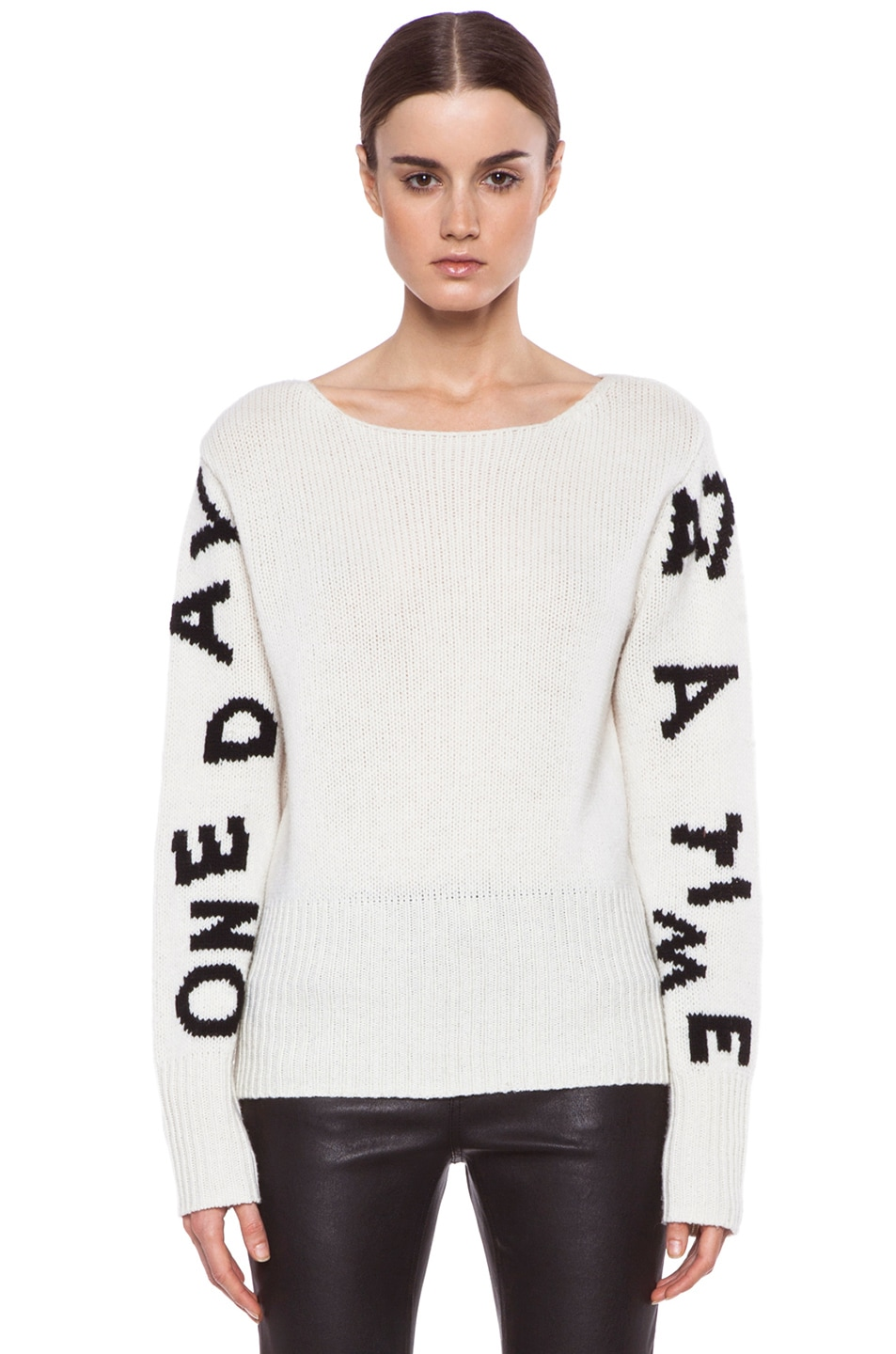 Image 1 of Acne Studios Lupine Wool Sweater in Black & Off White