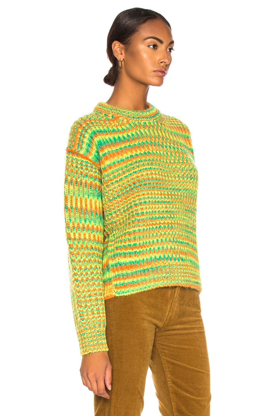 Image 2 of Acne Studios Mixed Sweater in Green & Orange