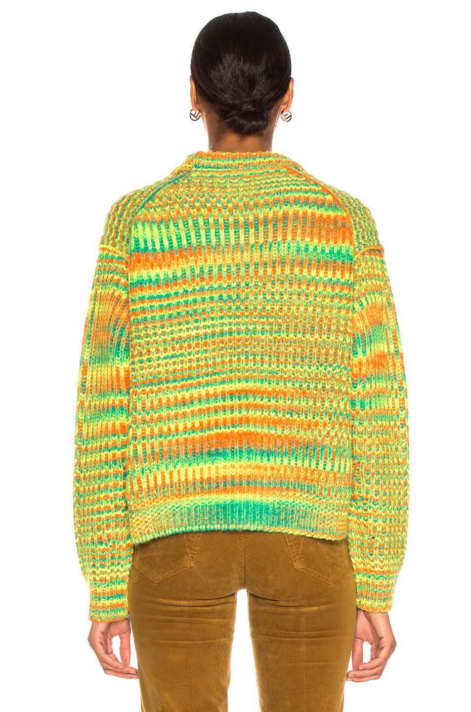 Image 3 of Acne Studios Mixed Sweater in Green & Orange