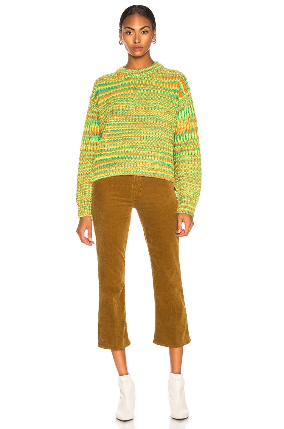 Image 4 of Acne Studios Mixed Sweater in Green & Orange