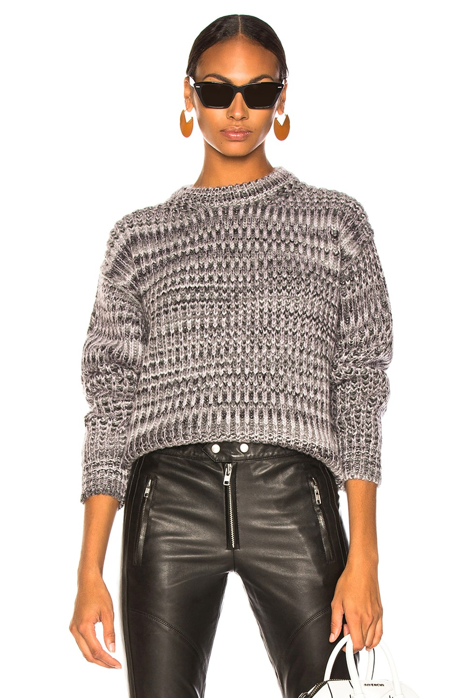 Image 1 of Acne Studios Mixed Sweater in Grey & Lilac