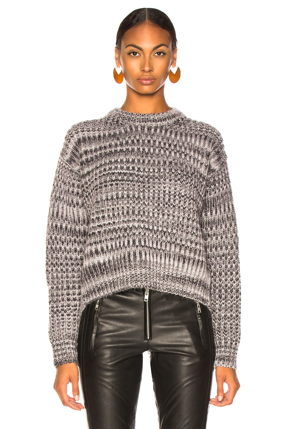 Image 2 of Acne Studios Mixed Sweater in Grey & Lilac