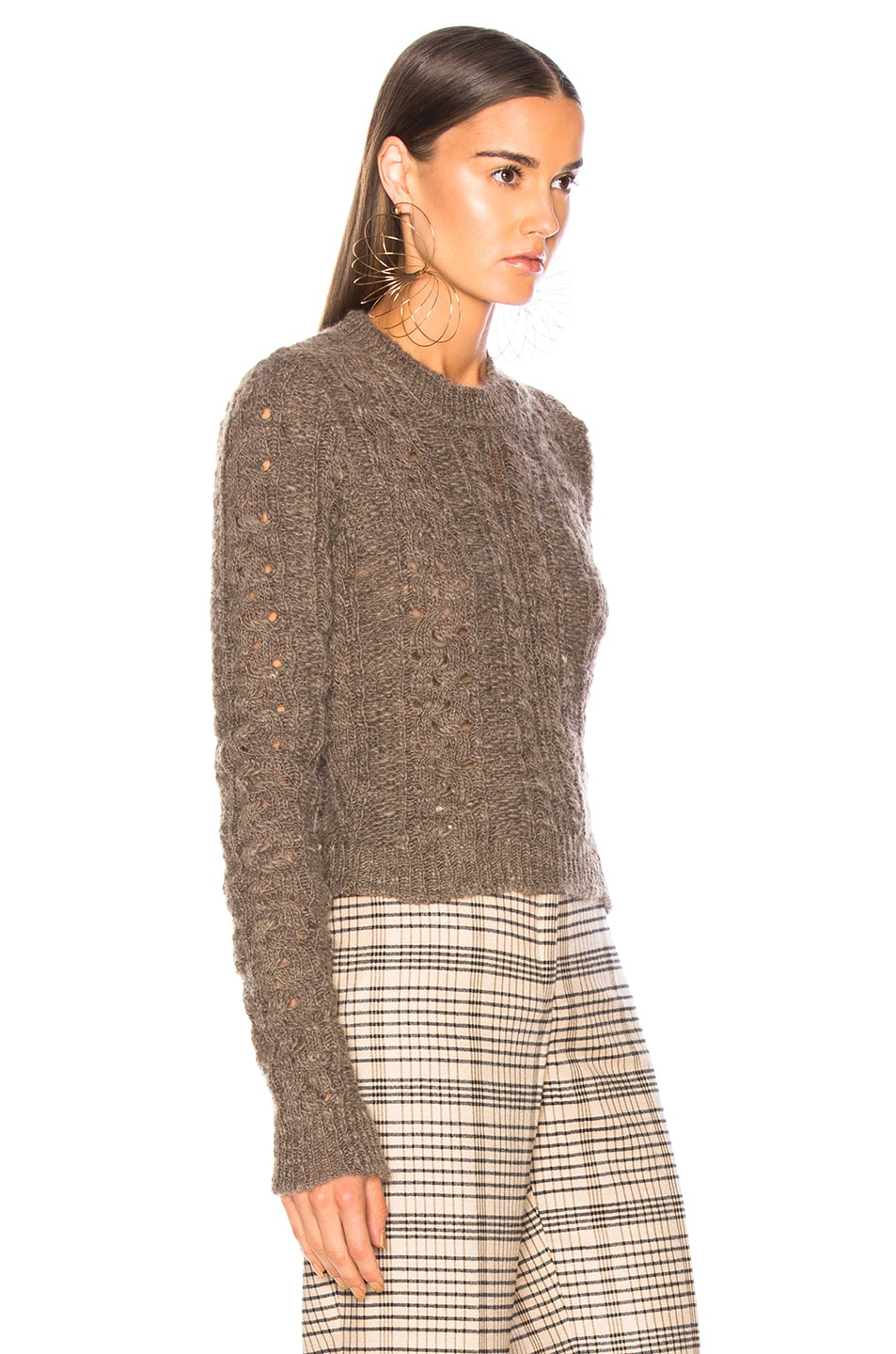Image 2 of Acne Studios Long Sleeve Crop Sweater in Brown