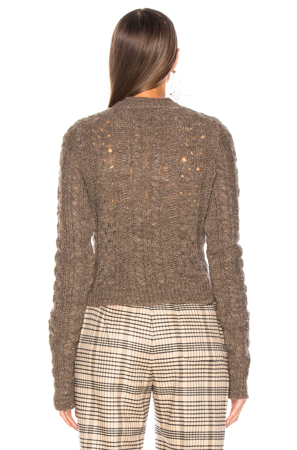 Image 3 of Acne Studios Long Sleeve Crop Sweater in Brown