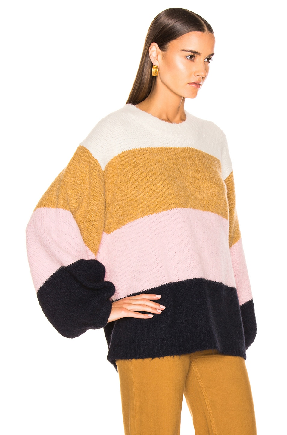 Image 2 of Acne Studios Kazia Sweater in Pink & Navy Multi