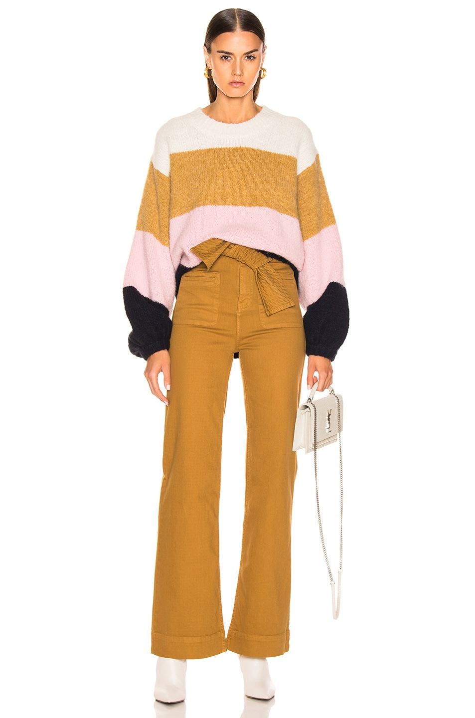 Image 4 of Acne Studios Kazia Sweater in Pink & Navy Multi