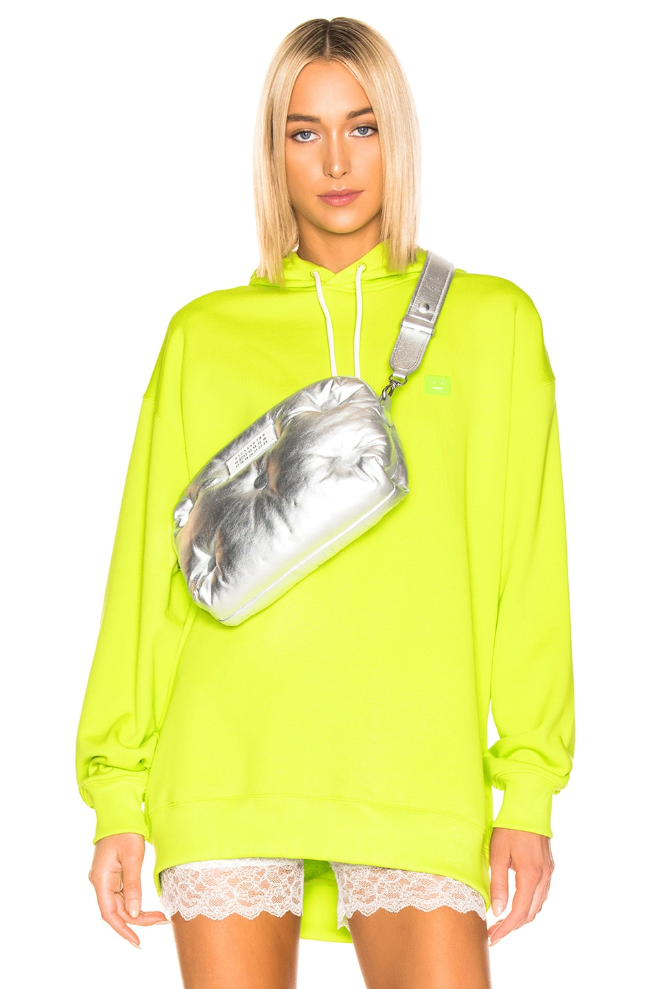 Image 1 of Acne Studios Farrin Face Hoodie in Lime Green