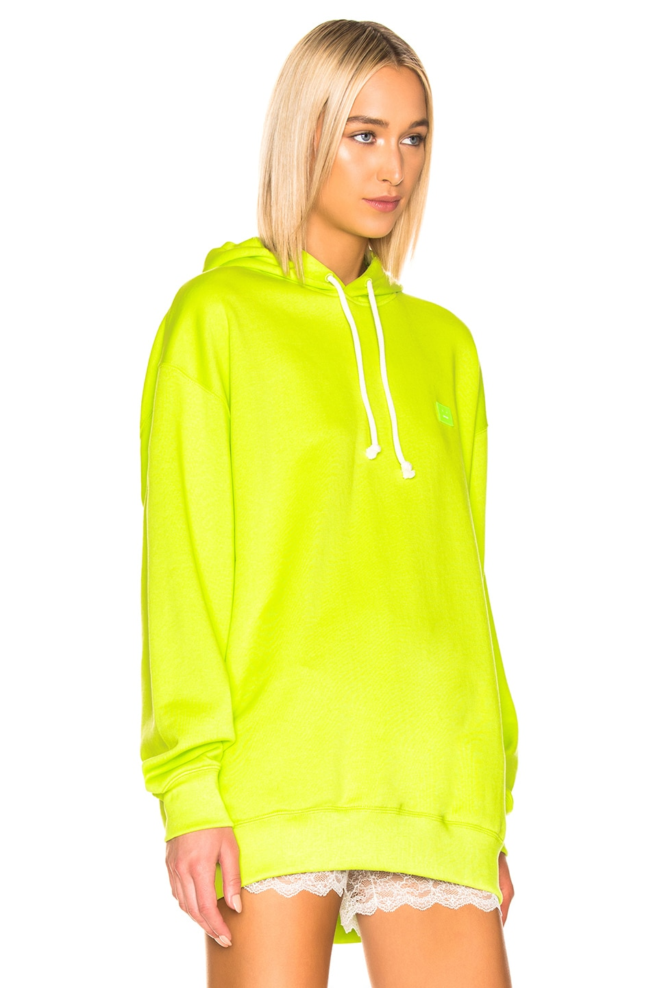 Image 2 of Acne Studios Farrin Face Hoodie in Lime Green