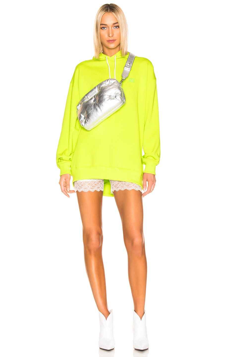 Image 4 of Acne Studios Farrin Face Hoodie in Lime Green