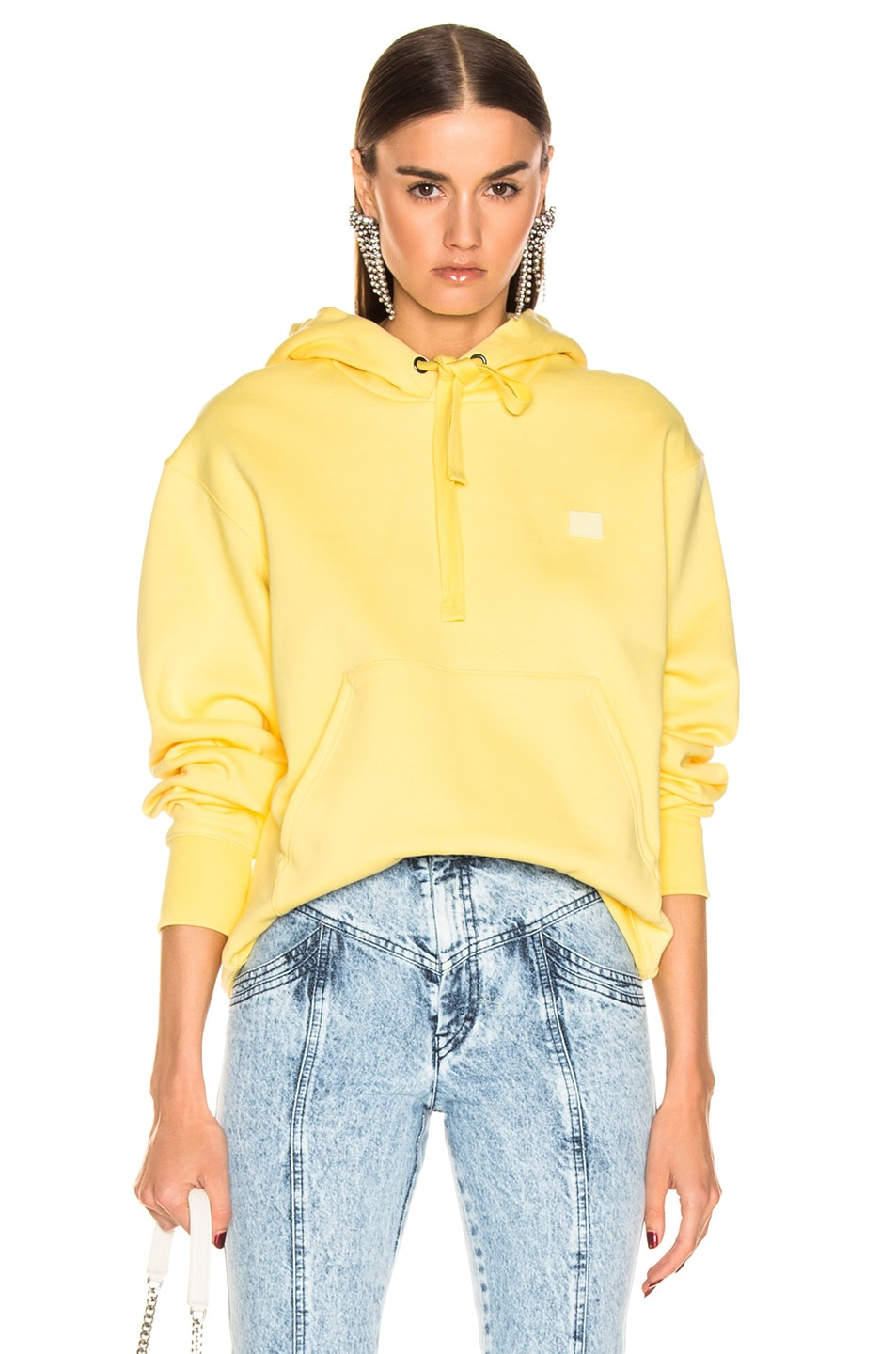 Image 1 of Acne Studios Ferris Face Hoodie in Pale Yellow
