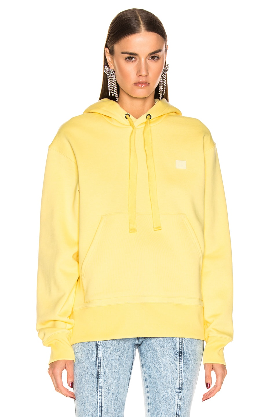 Image 2 of Acne Studios Ferris Face Hoodie in Pale Yellow