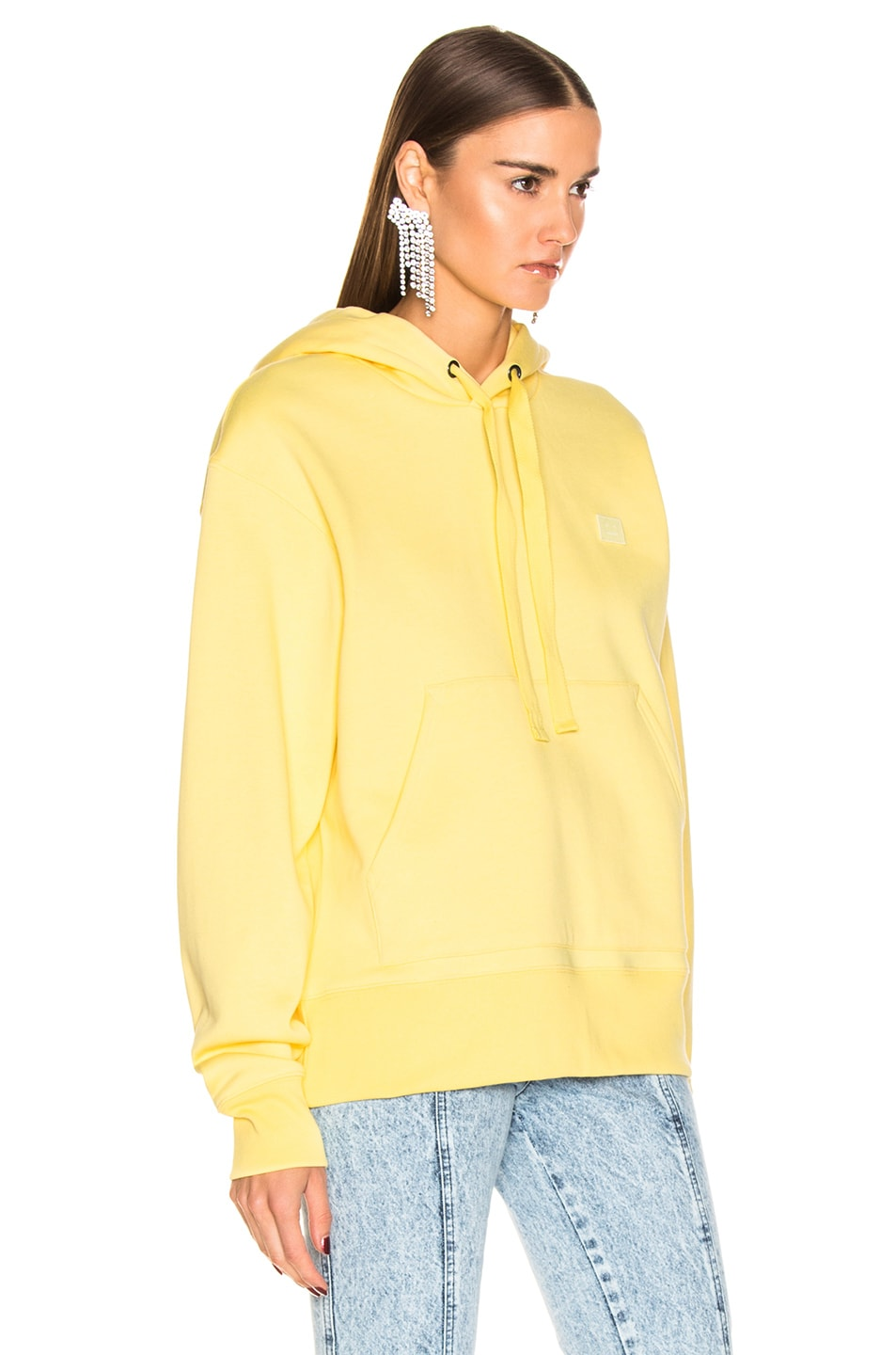 Image 3 of Acne Studios Ferris Face Hoodie in Pale Yellow