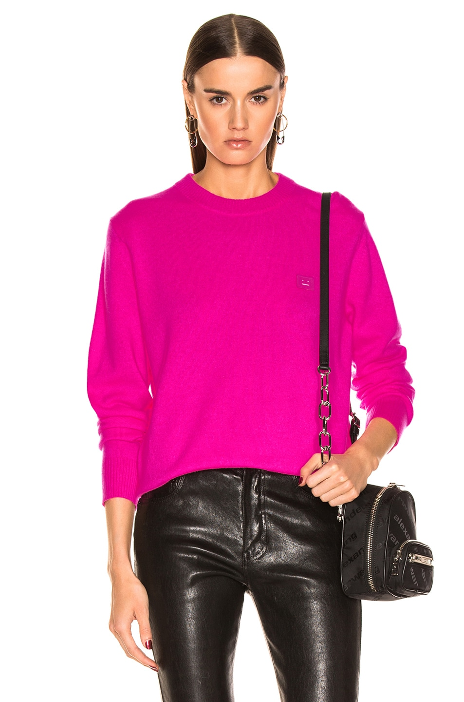 Image 1 of Acne Studios Nalon Face Sweater in Bright Pink