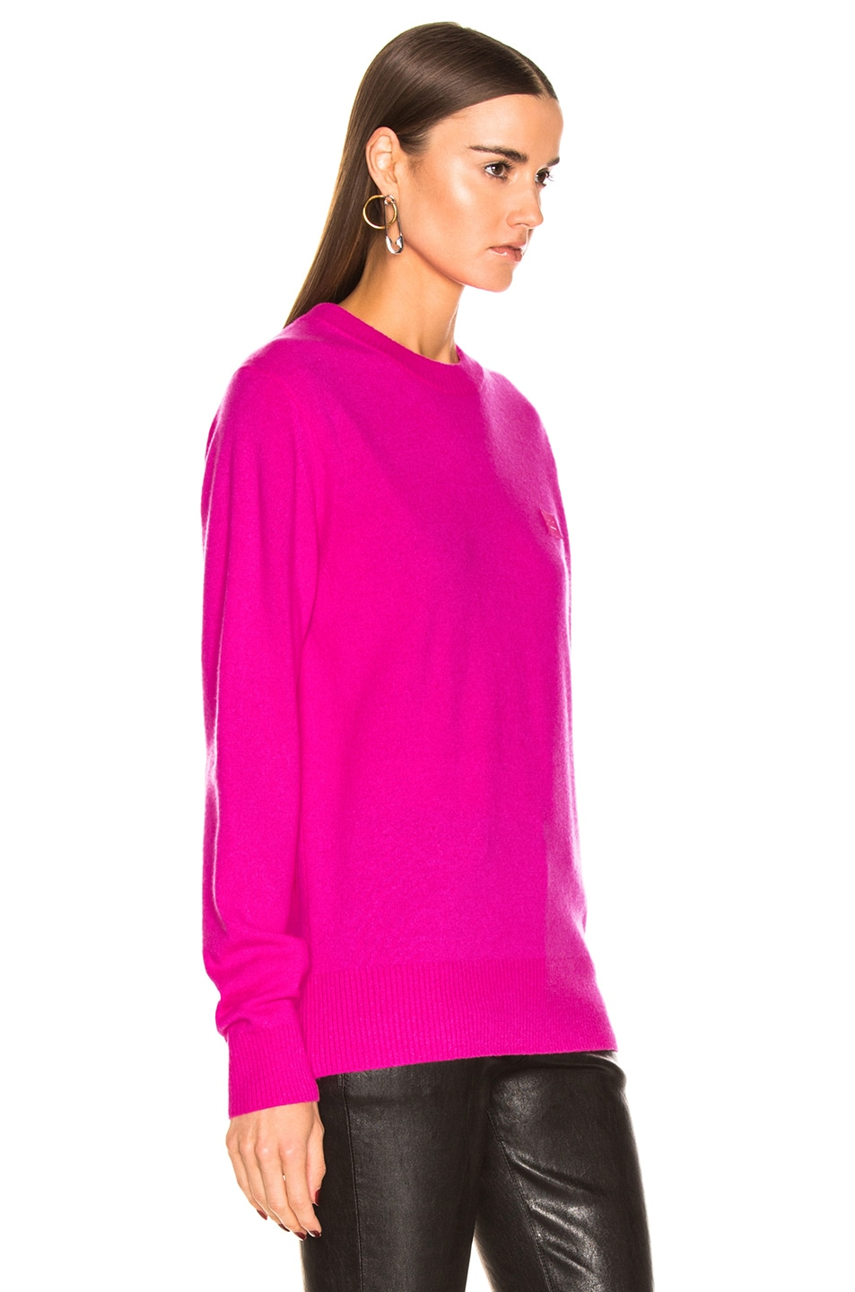 Image 2 of Acne Studios Nalon Face Sweater in Bright Pink