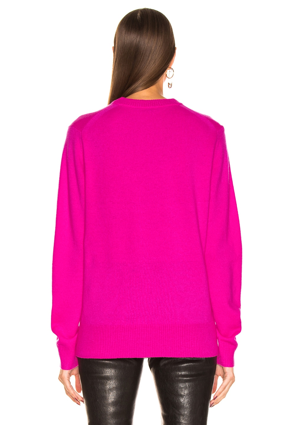 Image 3 of Acne Studios Nalon Face Sweater in Bright Pink