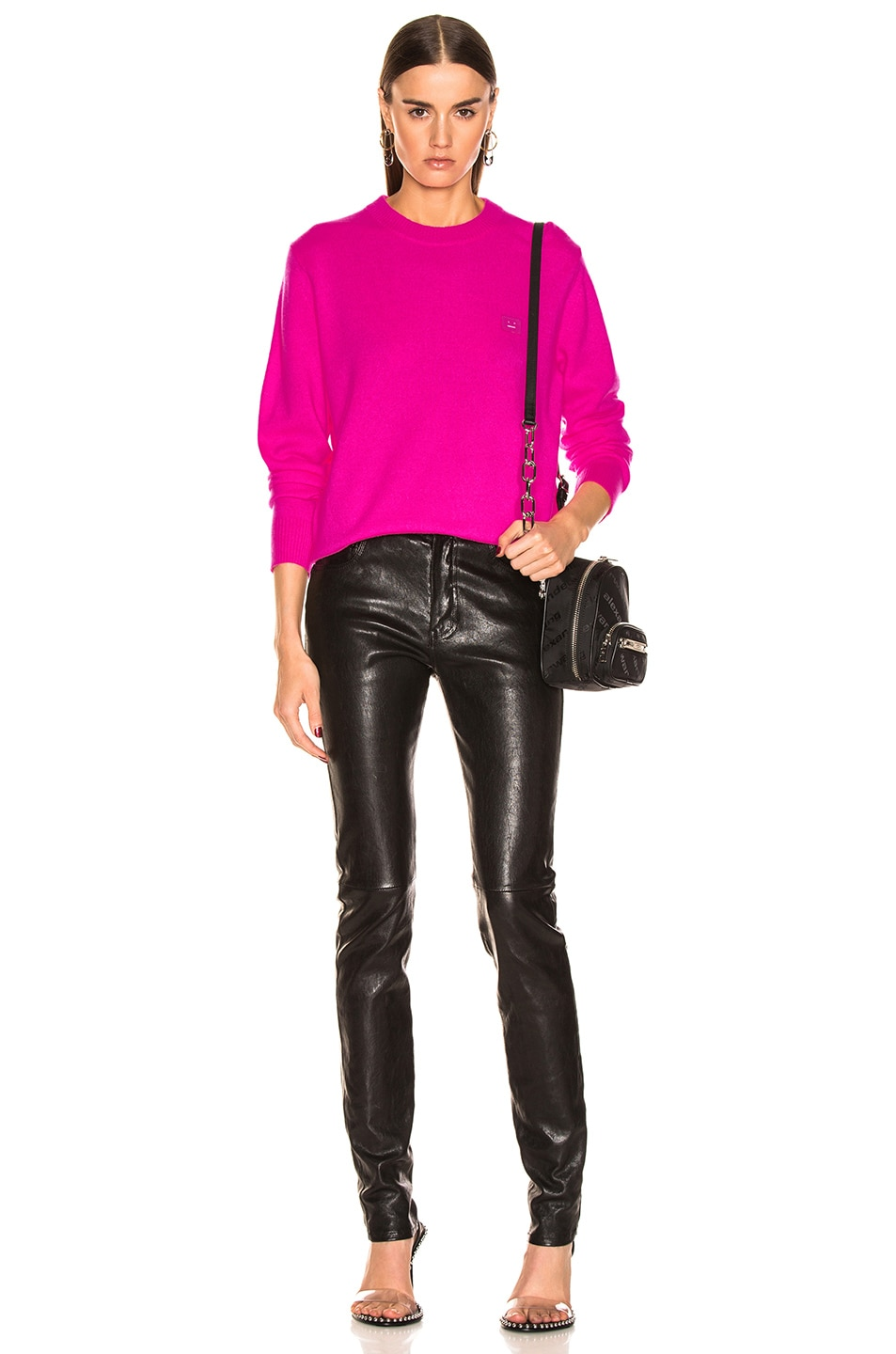 Image 4 of Acne Studios Nalon Face Sweater in Bright Pink