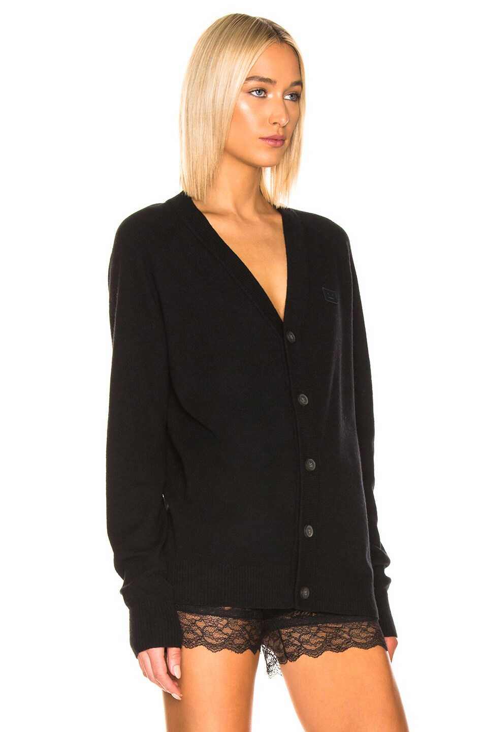 Image 2 of Acne Studios Neve Face Raglan Cardigan in Black
