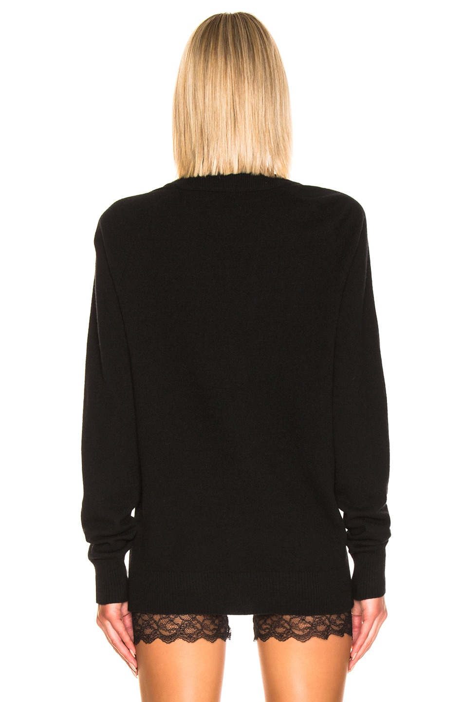 Image 3 of Acne Studios Neve Face Raglan Cardigan in Black