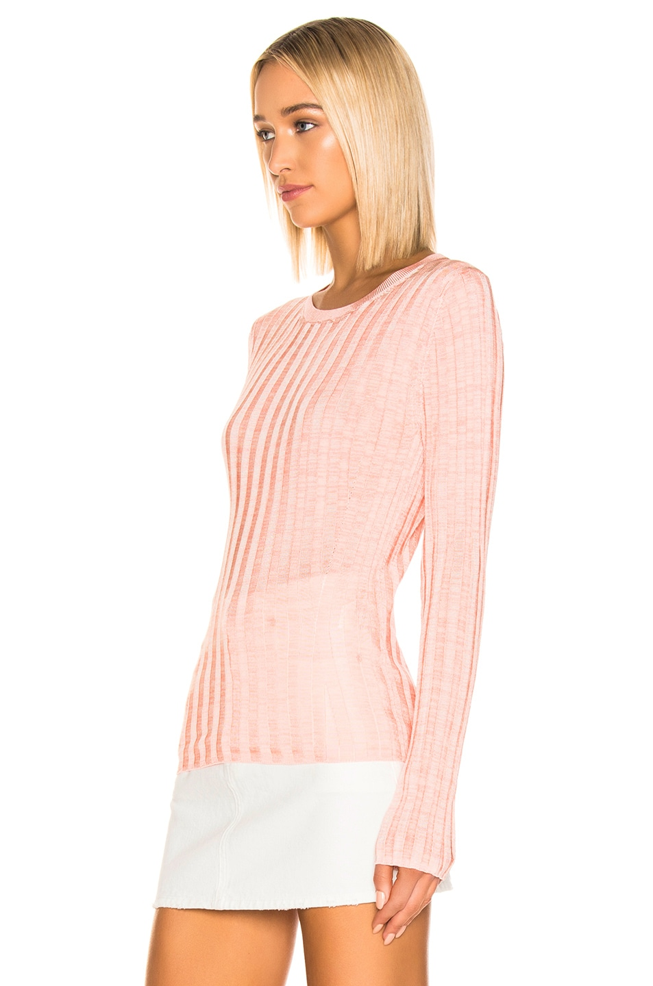 Image 2 of Acne Studios Sitha Sweater in Peach & Pink