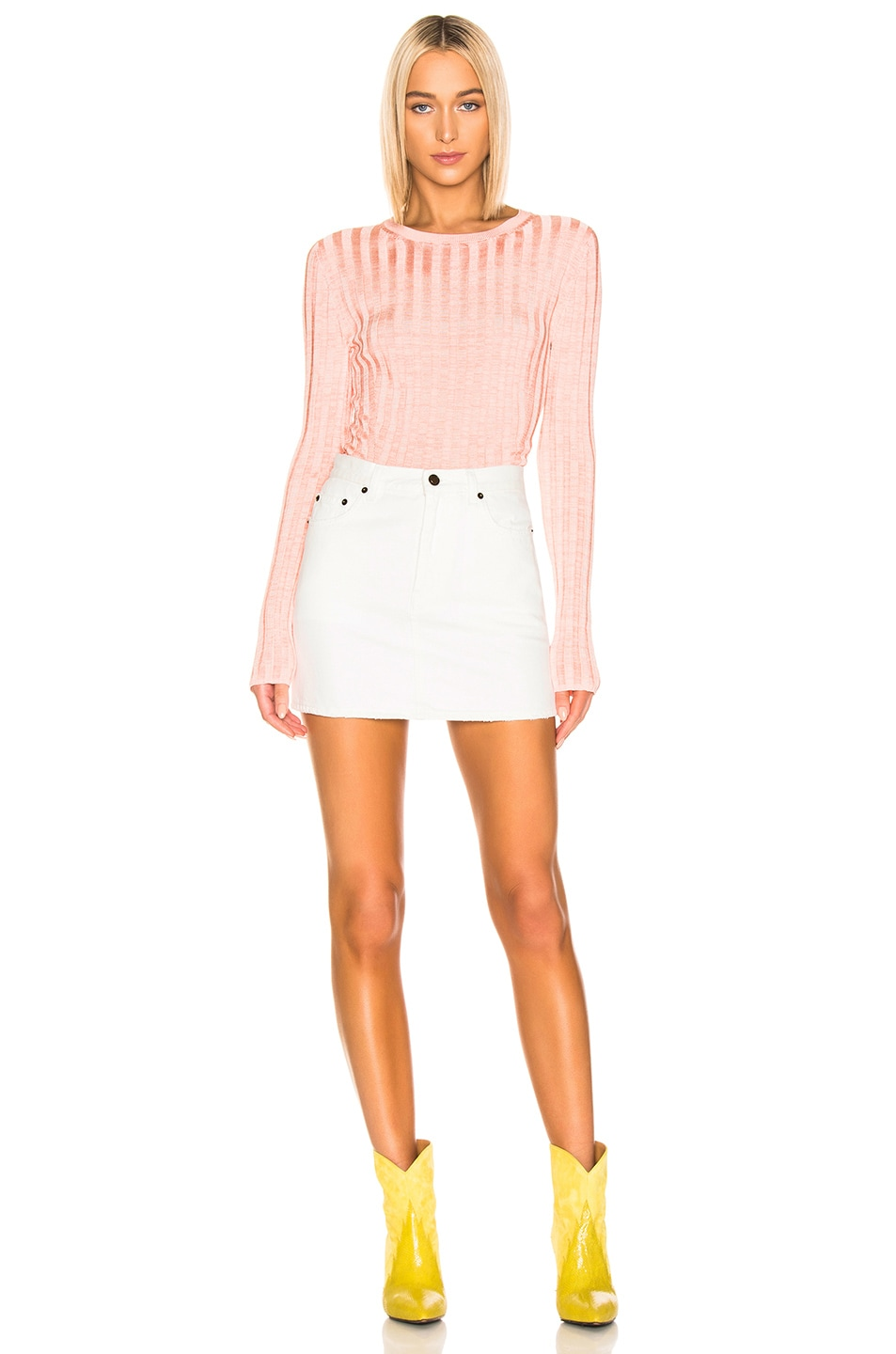 Image 4 of Acne Studios Sitha Sweater in Peach & Pink