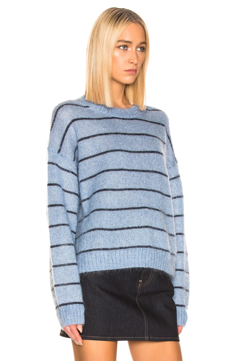Image 2 of Acne Studios Kassidy Sweater in Denim Blue & Navy
