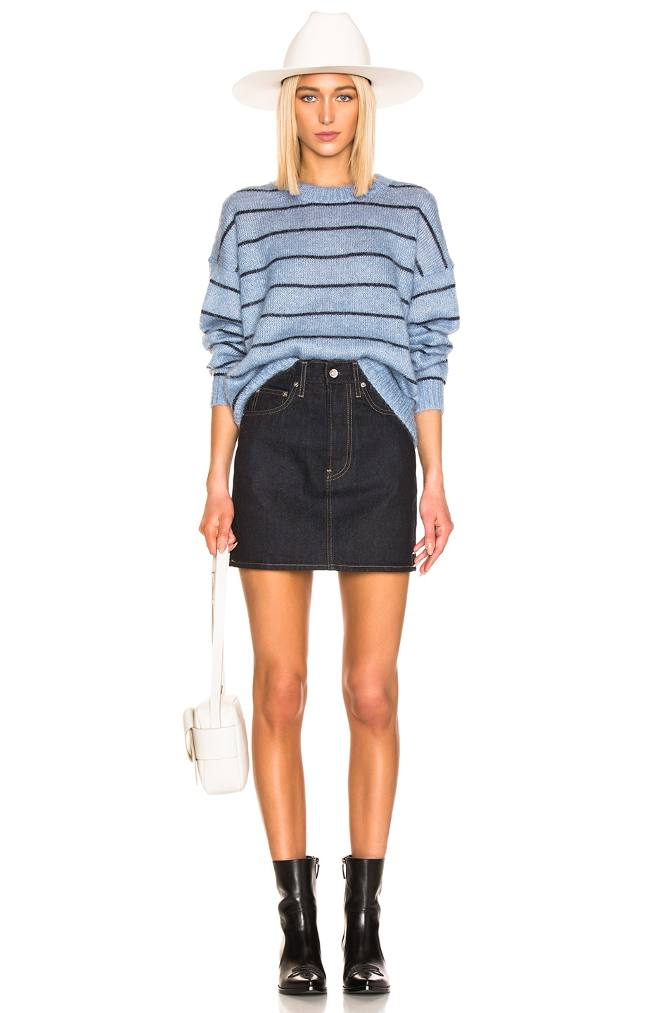 Image 4 of Acne Studios Kassidy Sweater in Denim Blue & Navy