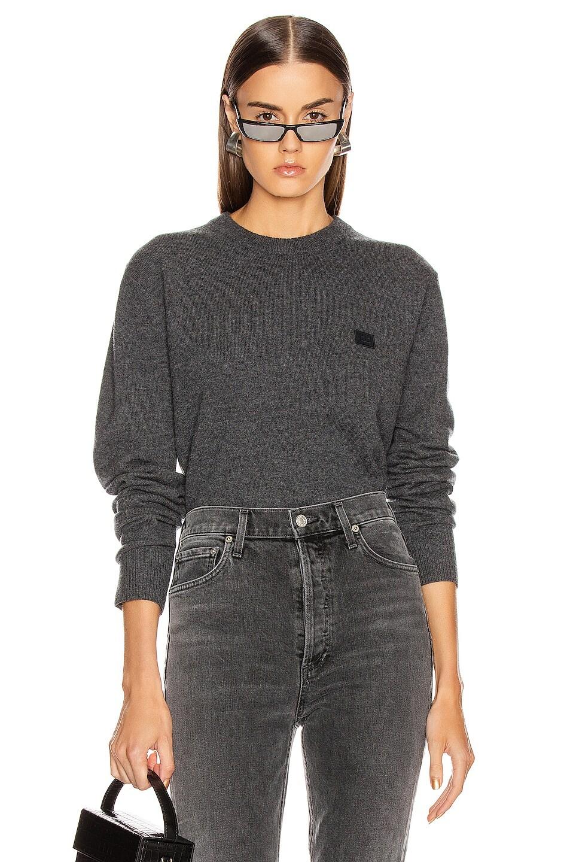 Image 1 of Acne Studios Nalon Face Sweatshirt in Dark Grey Melange