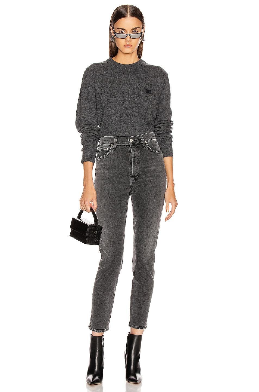 Image 4 of Acne Studios Nalon Face Sweatshirt in Dark Grey Melange