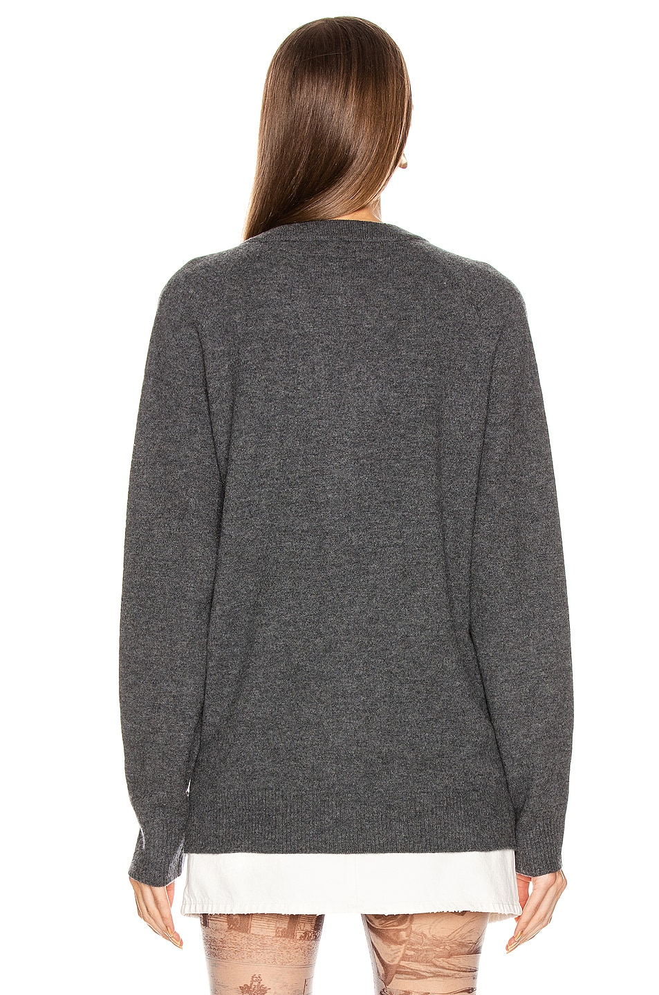 Image 3 of Acne Studios Neve Raglan Face Cardigan in Dark Grey Melange