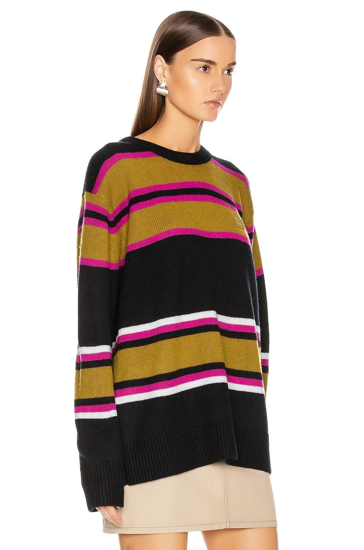 Image 2 of Acne Studios Nimah Stripe Face Sweater in Black Multicolor