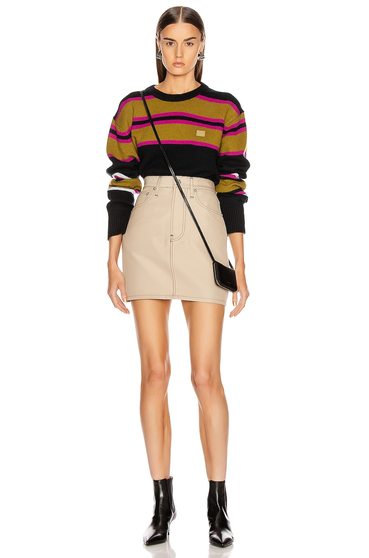 Image 4 of Acne Studios Nimah Stripe Face Sweater in Black Multicolor