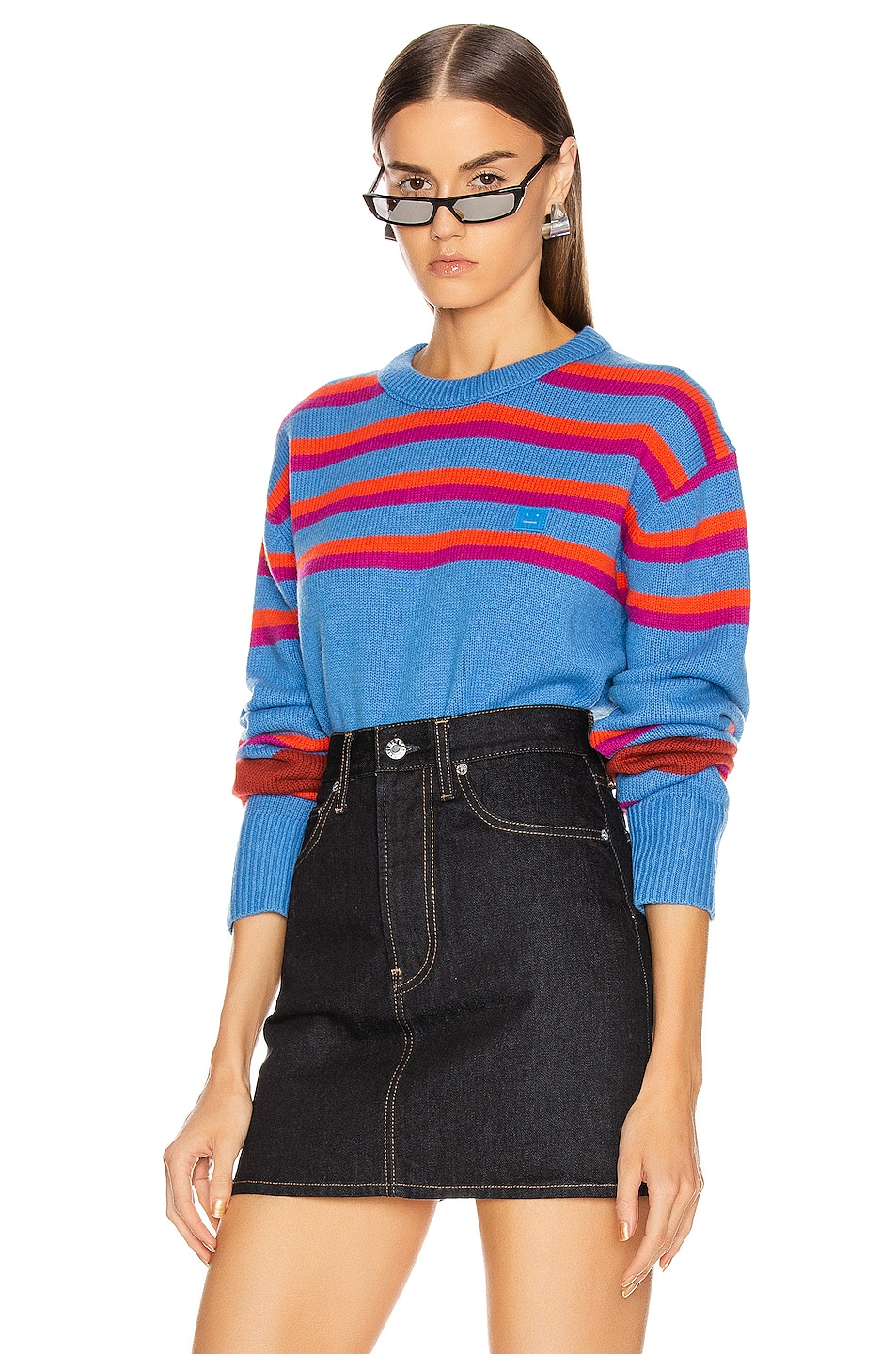 Image 1 of Acne Studios Nimah Stripe Face Sweater in Blue Multicolor