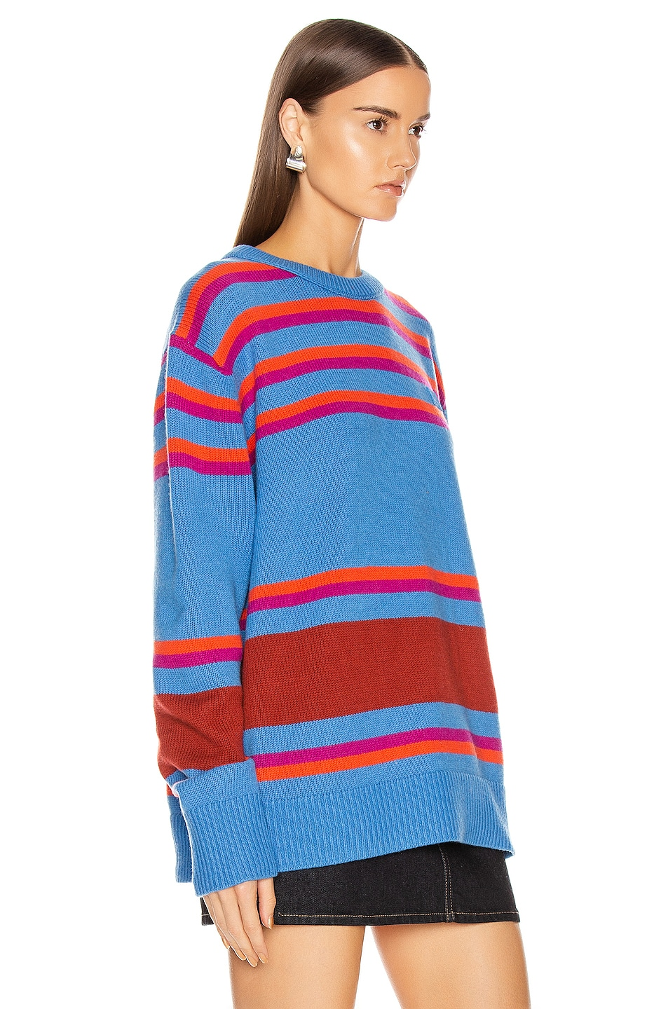 Image 2 of Acne Studios Nimah Stripe Face Sweater in Blue Multicolor