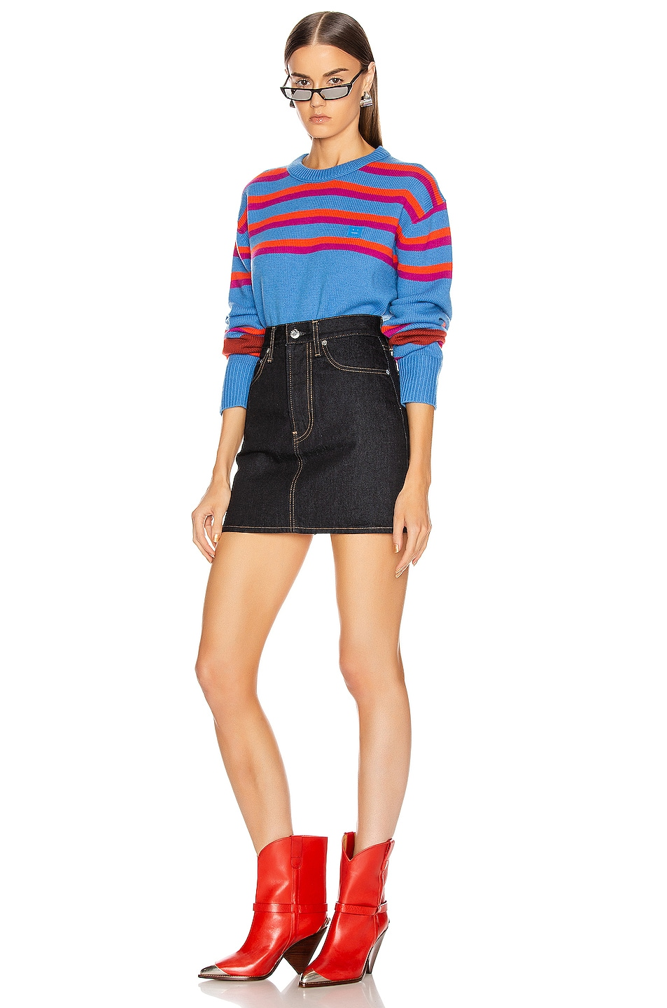 Image 4 of Acne Studios Nimah Stripe Face Sweater in Blue Multicolor