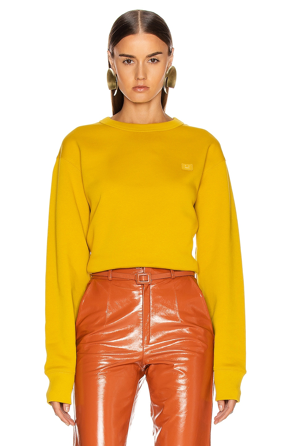 Image 1 of Acne Studios Fairview Face Sweatshirt in Amber Yellow