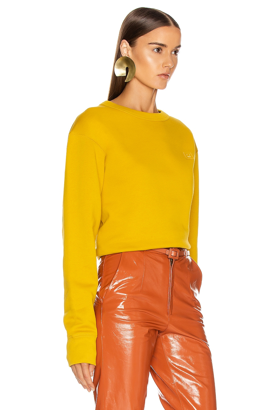 Image 2 of Acne Studios Fairview Face Sweatshirt in Amber Yellow