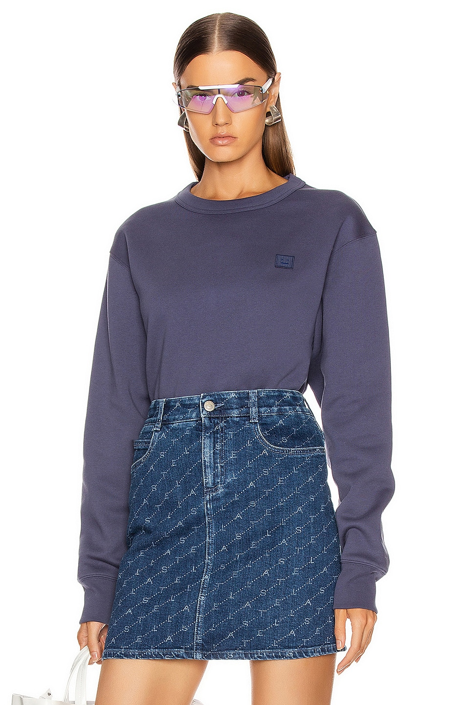Image 1 of Acne Studios Fairview Face Sweatshirt in Denim Blue