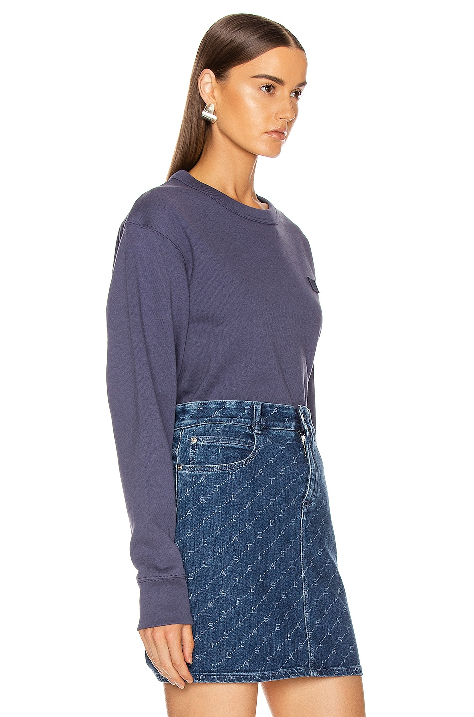 Image 2 of Acne Studios Fairview Face Sweatshirt in Denim Blue