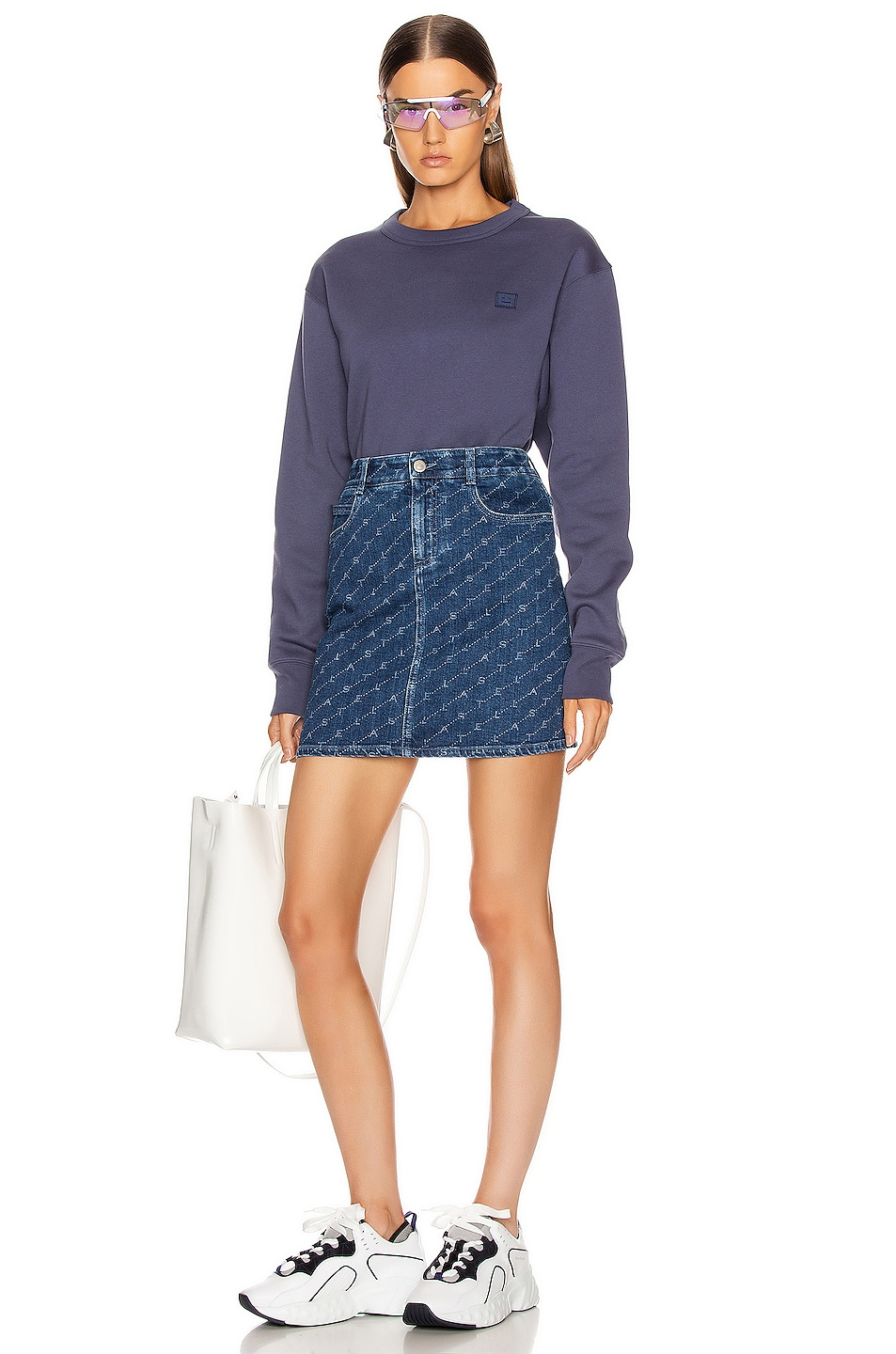 Image 4 of Acne Studios Fairview Face Sweatshirt in Denim Blue