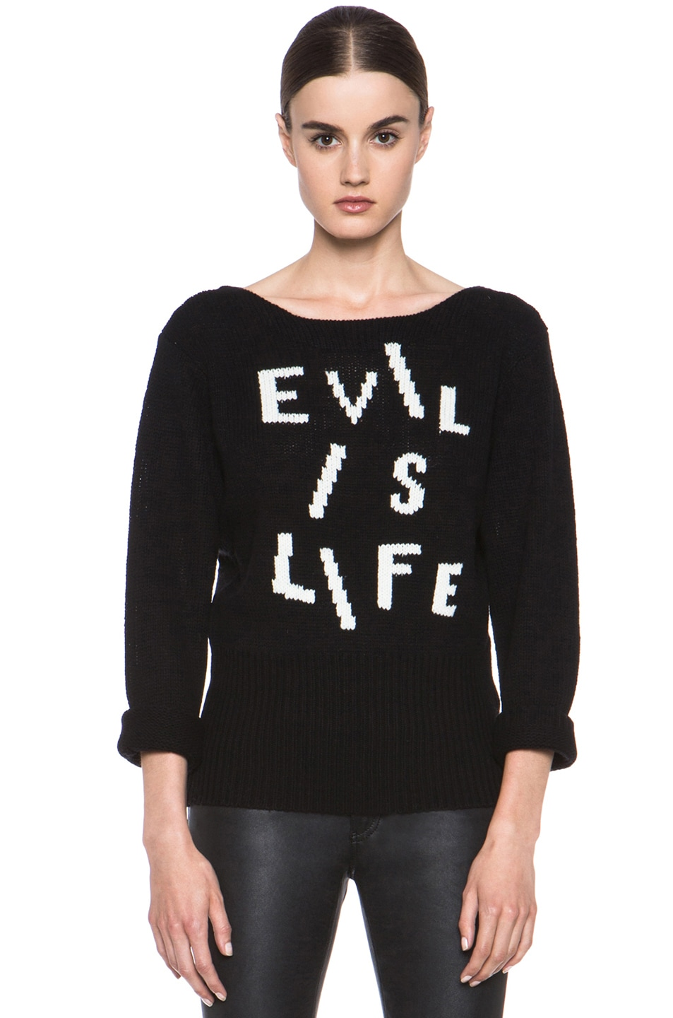 Image 1 of Acne Studios Lupine Wool Front Sweater in Black