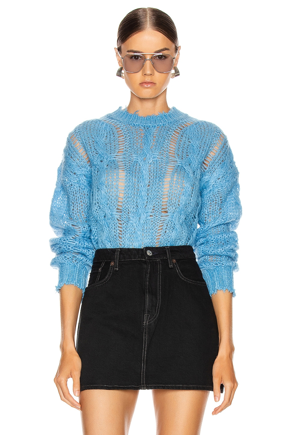 Image 1 of Acne Studios Kella Cable Sweater in Sky Blue