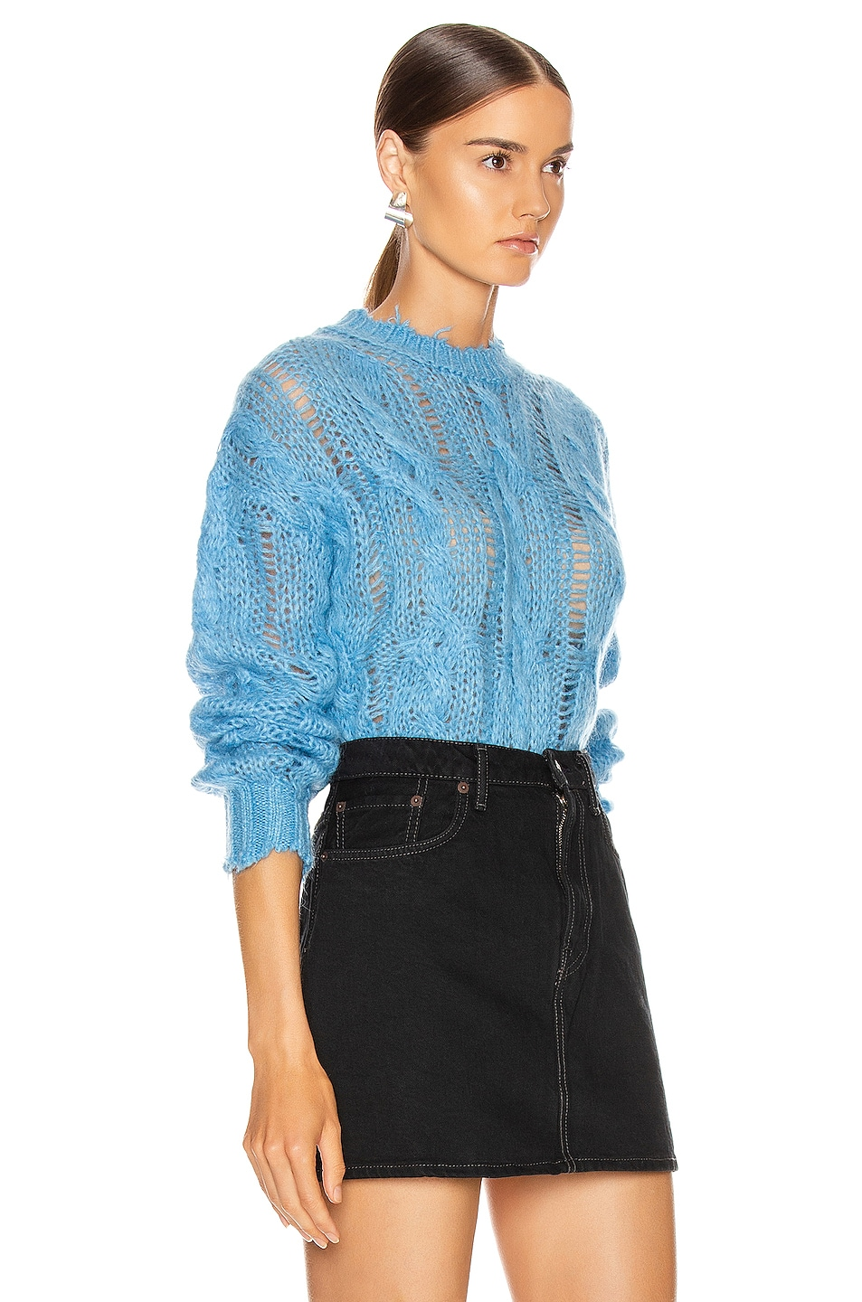 Image 2 of Acne Studios Kella Cable Sweater in Sky Blue