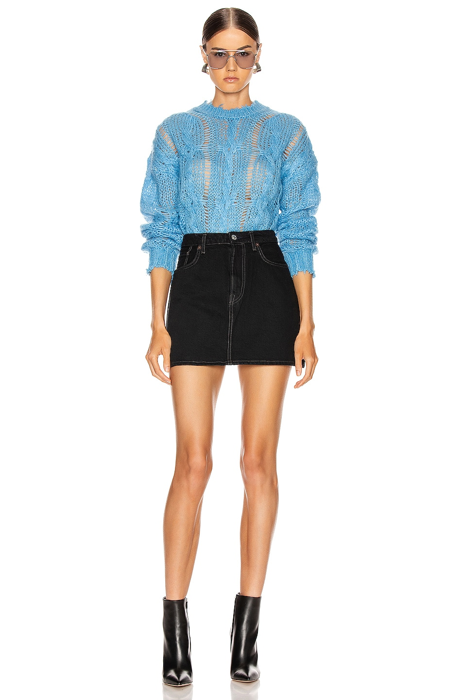 Image 4 of Acne Studios Kella Cable Sweater in Sky Blue