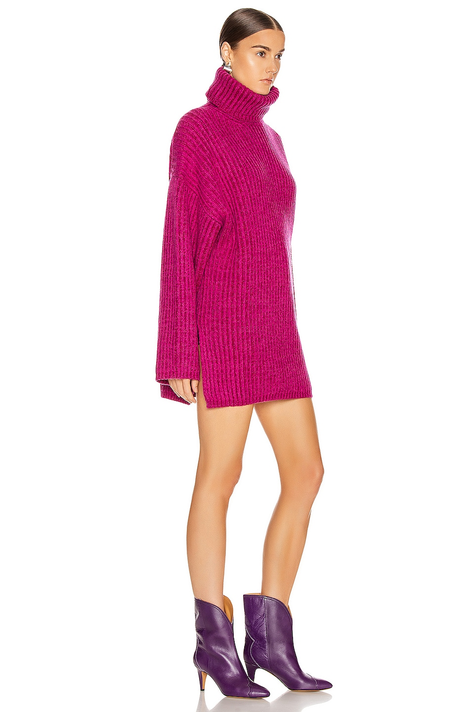 Image 2 of Acne Studios Turtleneck Sweater in Magenta Pink